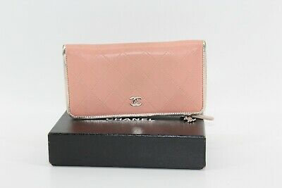 CHANEL Matelasse Quilted CC Logo Long wallet pink Silver Leather