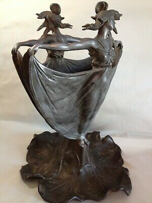 Figural Art Nouveau Metal Vessel Vase Planter Antique