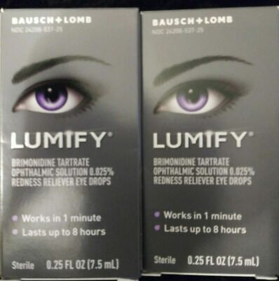 2 Boxes Bausch + Lomb Lumify Redness Reliever Eye Drops 0.25 Ounces