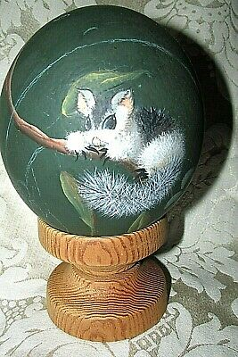 Bushy Tailed Australian Possum Hand Painted on Ostrich EGG & Wood Stand