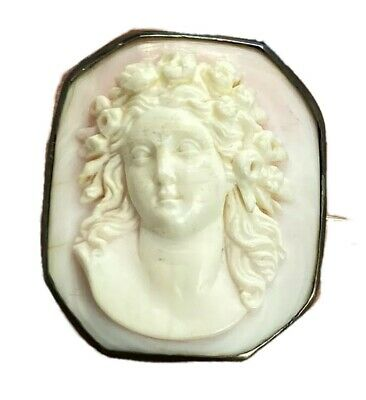 Antique Victorian 10K Gold Pink White Conch Shell Beauty Cameo Brooch Pin