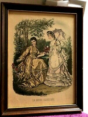 Vintage Victorian Print La Mode Illustree Paris  French Ladies Womens Fashion
