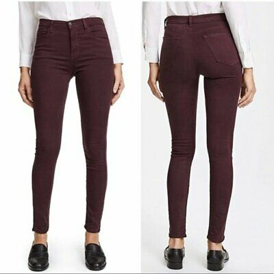 J Brand Maria Jeans High Rise Skinny Botany Red Bordeaux Wine Size 23 *NEW* $188