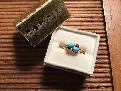 Antique Victorian Persian Turquoise & Seed Pearl Ring Rose Gold