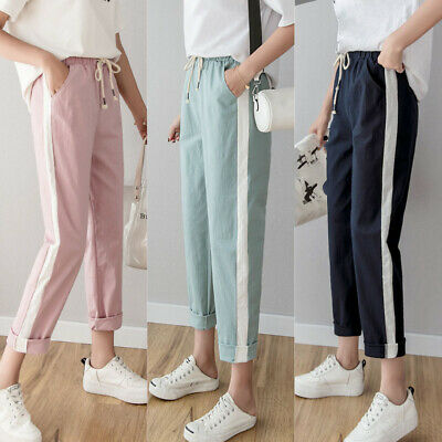 Ladies Casual Long Pants Elastic Waist Pockets Trousers Summer Plus Size Bottoms