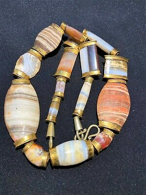A bactrian banded agate bead necklace  circa late 3RD-EARLY 2ND MILLENNIUM B.C