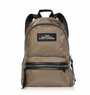 NWT Marc Jacobs LARGE The Backpack CEMENT Tan Brown Nylon Knapsack Solid Zip Bag
