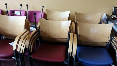 12 Sturdy Commercial Chairs With Mixed  Red & Blue Stool Softeners;) Great Cond.