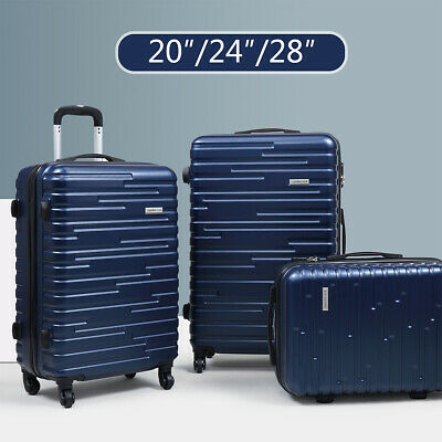 3 Piece Luggage Set Travel Suitcase Blue ABS+PC Nested Spinner w/ Cover