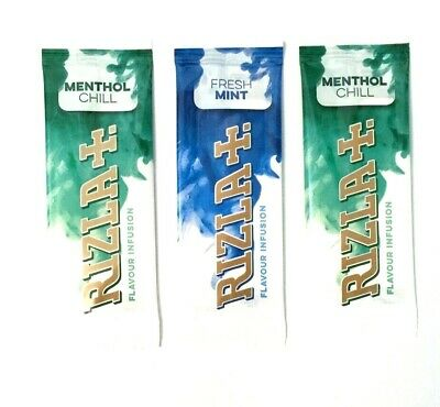 RIZLA FRESH MINT MENTHOL CHILL INFUSION CARDS ROLL YOUR OWN and CIGARETTE TIPS