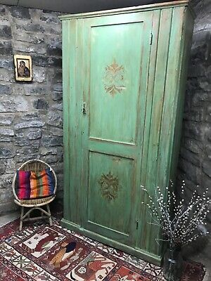 Vintage Painted Pine Distressed Antique Armoire/ Wardrobe with Inlaid Design