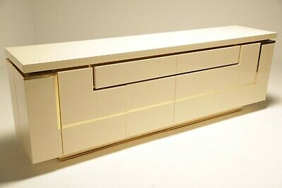 Mid-century Lacquered Sideboard With Brass Trim By Jean Claude Mahey France c.19