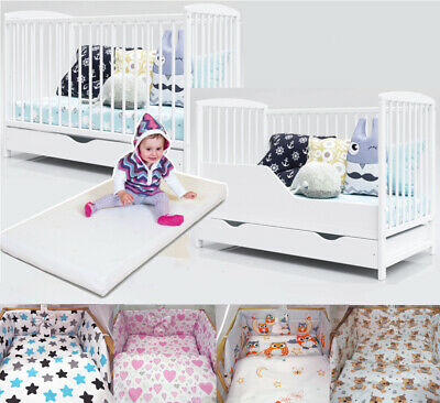 BABY COT BARRIER MATTRESS 8-PCS COMPLETE SET INCL 6-PCS MINKY BEDDING SET