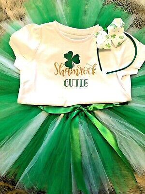 Girls age 4 years handmade st patrick day tutu outfit with headband