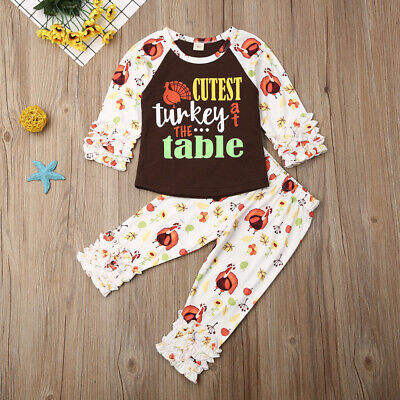 US Newborn Kids Baby Girl Thanksgiving Turkey Tops Pants Leggings Outfit Clothes