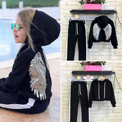 US Kids Baby Girls Sequin Wing Hooded Tops Pants Leggings Outfits Clothes 2PCSH
