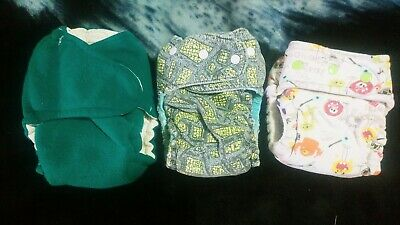 Lot of 3 homemade One Size Hybrid Fitted Cloth Diapers PLAY condition