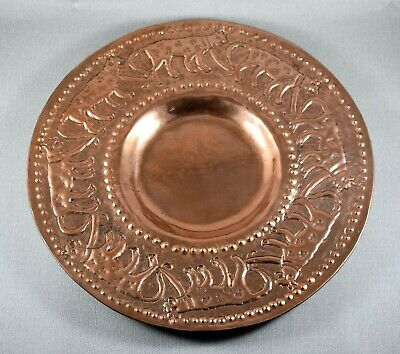 ARTS & CRAFTS NEWLYN STYLE COPPER CHARGER 30cm