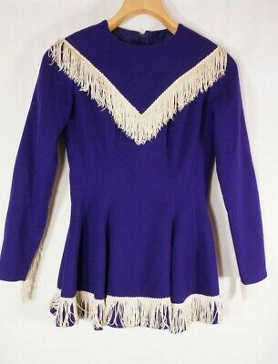 1960's Cheerleader uniform Wool Tassel Purple Vintage Handmade! Small