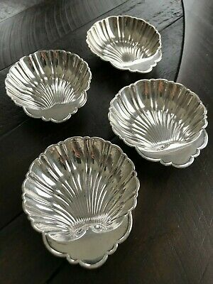 Vintage Birks Sterling Silver scallop Shell nut candy Dishes,Set of 4