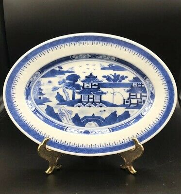 Vintage White Blue Canton Oval Serving Dish Plate Chinese Porcelain China
