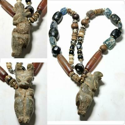 Roman agate stone & glass  ancient beads Jade stone animal amulet necklace # 144
