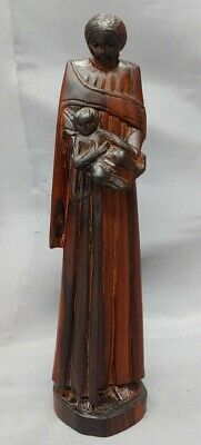 Old Vintage Hand Carved Wooden Figure Mother And Child Virgin Mary Baby Jesus...