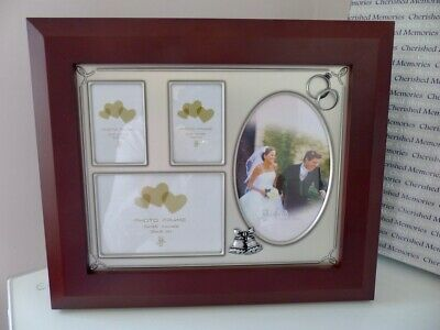 Cherished Memories Wedding Photo Frame With Rings & Bells - New With Box