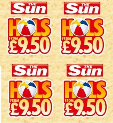 The Sun £9.50 Holidays Online Booking Codes ALL 7 Token Codewords Fast Delivery