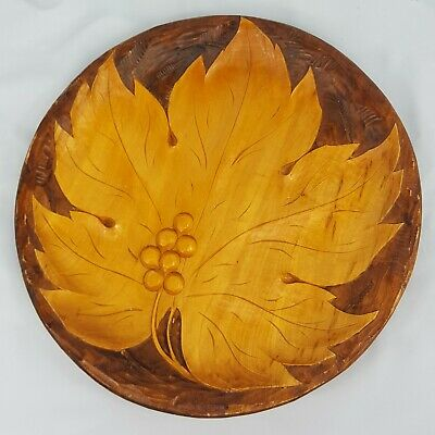 "Vintage Wood Plate Hand Carved Leaf and Berry Wall Decorative 12"" Rustic"