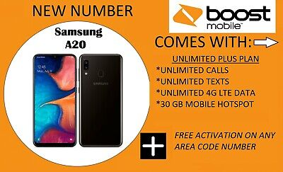 Samsung Galaxy A20 SM-A205U 32GB Boost Mobile (Single SIM) NEW NUMBER ONLY!