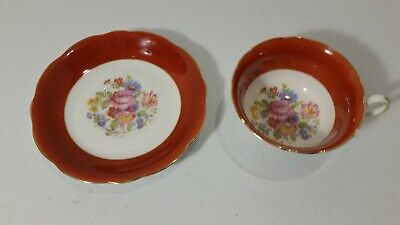 EB FOLEY Bone China Made In England Red Floral Coffee Tea Cup And Saucer