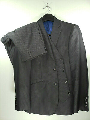 Mens Size 36S 30x30 Flat Front Pant Black Striped 2 Button Three Piece Suit GUC