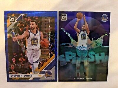 Stephen Curry Blue Holo & Blue Splash Prizms 2019 Panini Donruss Optic