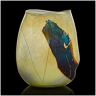 William Morris Original Mano Soplado Cristal Fragmento Vessel Florero Firmado