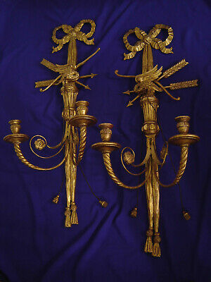 Pair Vintage Gilded Wood Metal Americana 2-Light Candle Sconces Eagle Federal