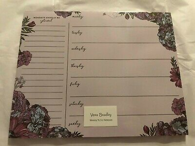 Vera Bradley NWT Weekly To Do Notepad Lavender Meadow FREE Shipping