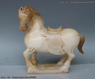 Chinese Old Natural White Jade Stone Carved Lucky Tang Horse Horses Art Statue