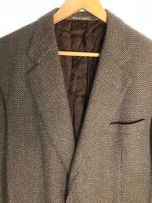Chester Barrie Savile Row England 100% Cashemer Soft Tweed Brown Blue 44 R