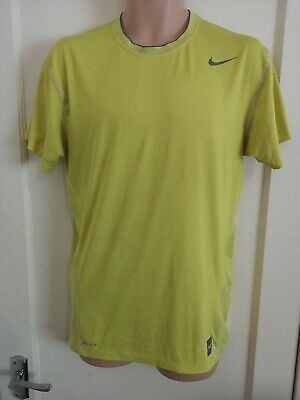 NIKE PRO COMBAT men's stretch short sleeve sport top size XXL Yellow C1
