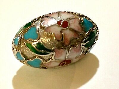 ONE Vintage Chinese Enamel Cloisonné Silver Bead Leaves Flowers Oval 25mm x 15mm