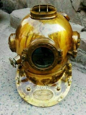 Vintage antiker Messing-Taucher US Navy Mark V Marine Diving Divers Helm
