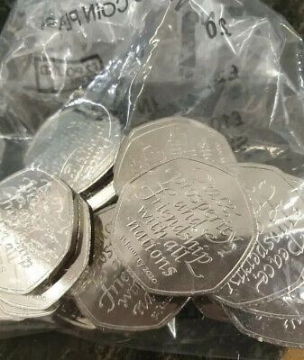 Brexit 50p Pieces 20 Brand New and Uncirculated 50p Coins From Sealed Bag