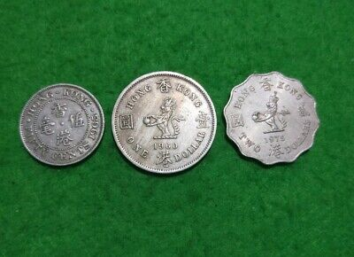 Trio of Hong Kong coins from British reign up to 2 Dollars