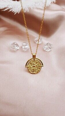 Gold Coin Necklace, Roman Coin Necklace, Gold Medallion, Disc Necklace, Gift