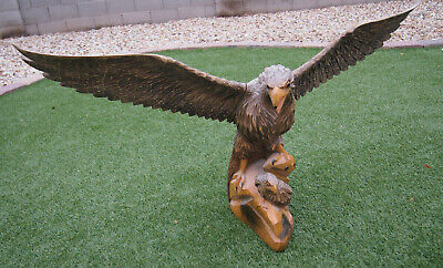 Vintage Hand Carved Wooden Figure of an Eagle perched with chic 37 in wign span