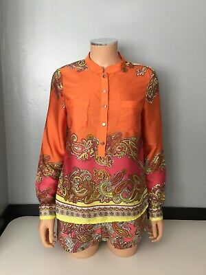 H&M Womens Set Outfit Co Ord Size 36 Top Shorts Long Sleeve Satin Orange Pink