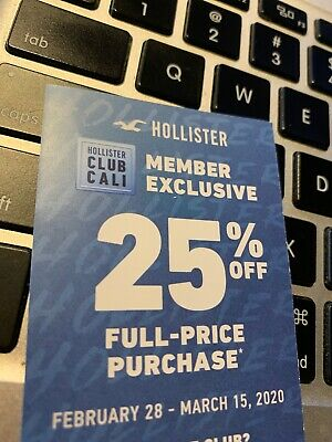Hollister Coupon Code 25% off Full-Price Purchase Store/Online - exp 3/15/2020