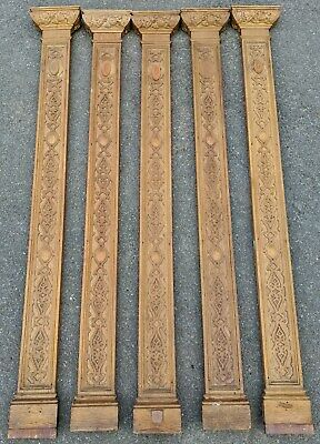 SET of 5 Antique FRENCH Hand Carved OAK Architectural Elements PILLARS Pilasters