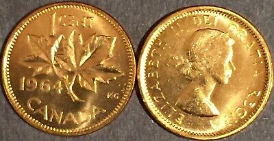 1964 Canada 1 cent MS-GEM-BU from the Mint Roll, RED Uncirculated.